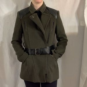 Military-Style Coat w/ Faux Leather Shoulders